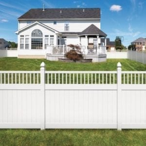 vinyl picket fence front yard. Semi-private Or Shadowbox Fences Use Alternating Panels Across The Back And Front To Give Fence Same Look On Both Sides. Vinyl Picket Yard